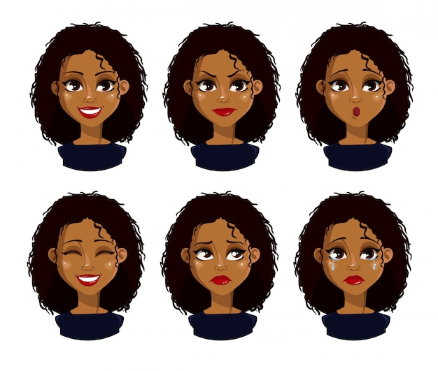 Gezichtsuitdrukkingen van afrikaanse amerikaanse vrouw met donker haar