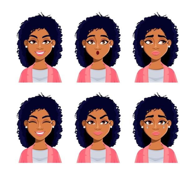 Gezichtsuitdrukkingen van afro-amerikaanse vrouw