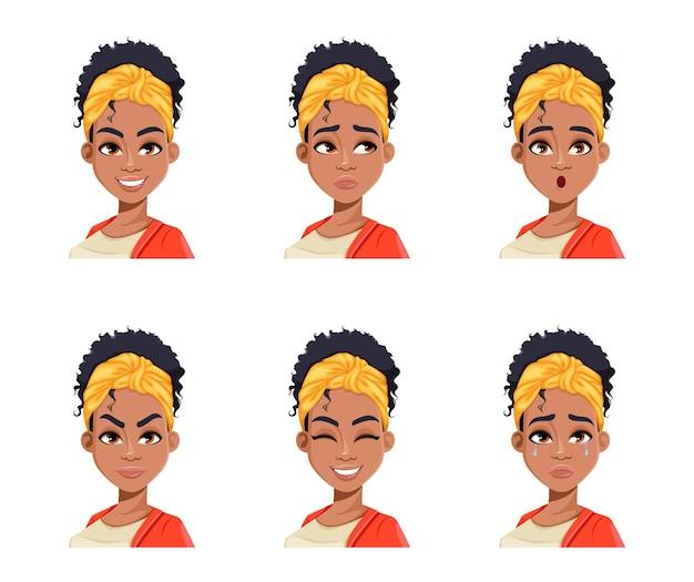 Gezichtsuitdrukkingen van jonge afro-amerikaanse vrouw