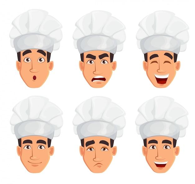 Gezichtsuitdrukkingen van jonge professionele chef-kok man