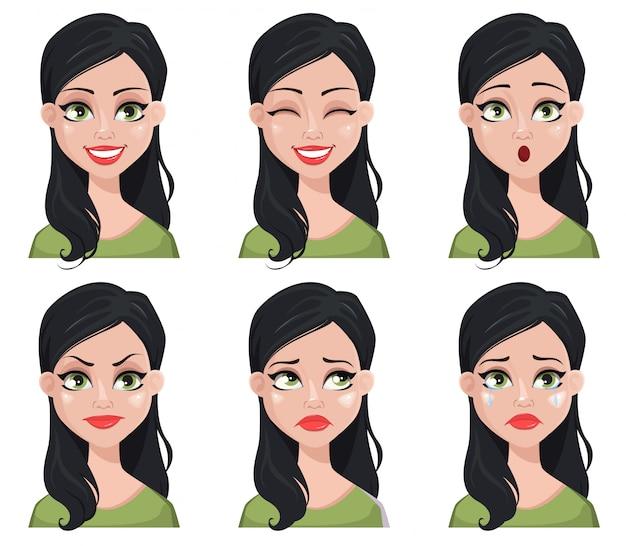 Gezichtsuitdrukkingen van mooie donkerbruine vrouw in groene blouse