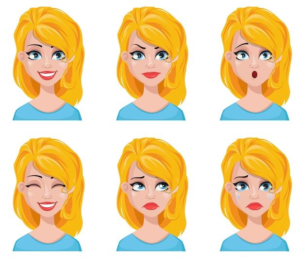 Gezichtsuitdrukkingen van schattige blondevrouw