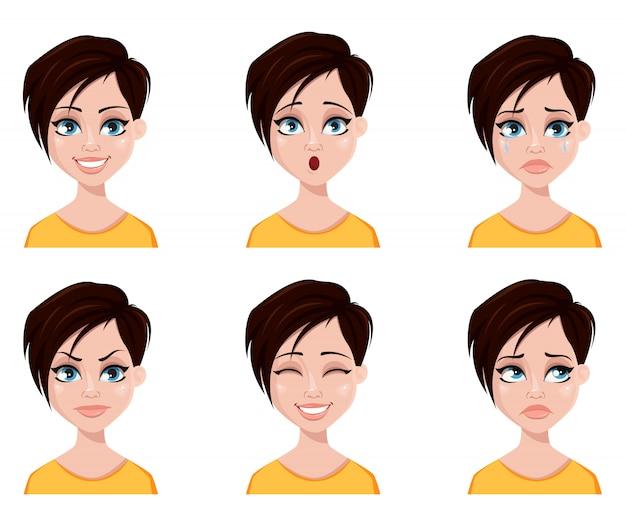 Gezichtsuitdrukkingen van vrouw met modieus kapsel