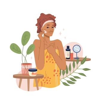 Gezichtsverzorging huidverzorging procedures vrouw en cosmetica