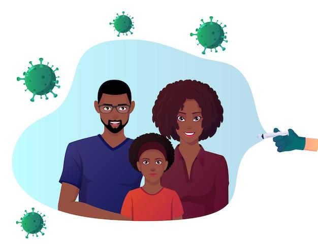 Gezin beschermd tegen virussen door vaccin black family shield corona virus
