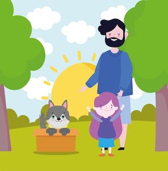 Gezin met adoptie van honden