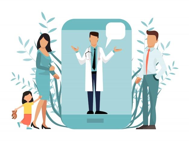 Gezin met kind bij arts consult online met behulp van de medische zorg-applicatie op smartphone.