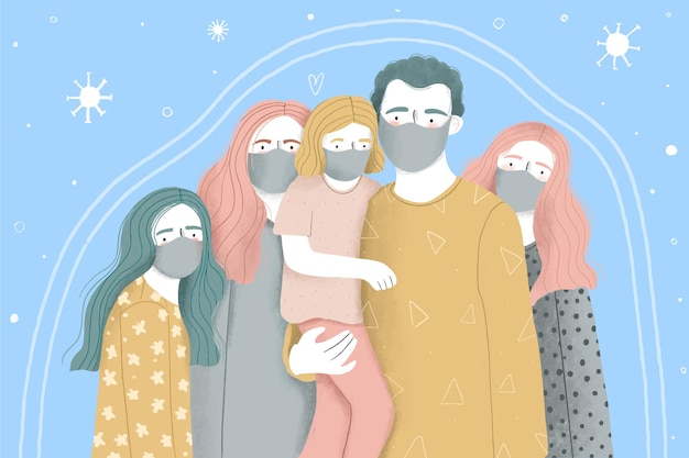 Gezin met kinderen beschermd tegen het virus