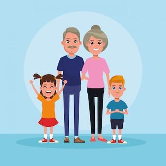 Gezin met kinderen cartoon