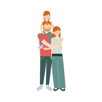 Gezin met man en dochter op uw schouders en vrouw met cartoon afbeelding