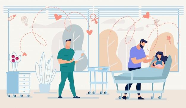 Gezin met pasgeboren en arts met checklist