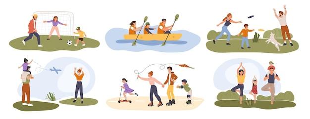 Gezinsactiviteit gelukkige ouders spelen sportspelletjes met hun kinderen gezonde buitenactiviteiten