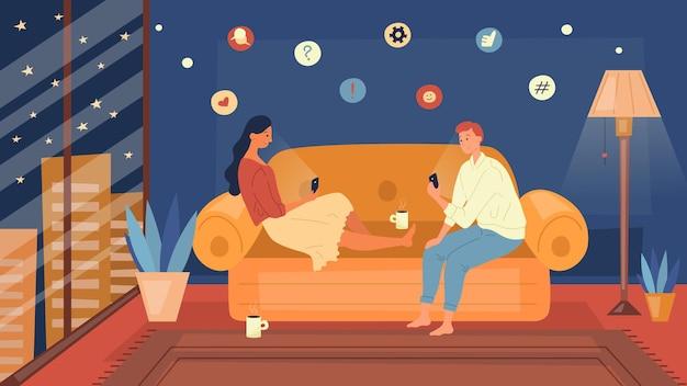Gezinsavondroutine trendy. familie is tijd samen thuis doorbrengen, rust in de woonkamer, met behulp van smartphone. Premium Vector