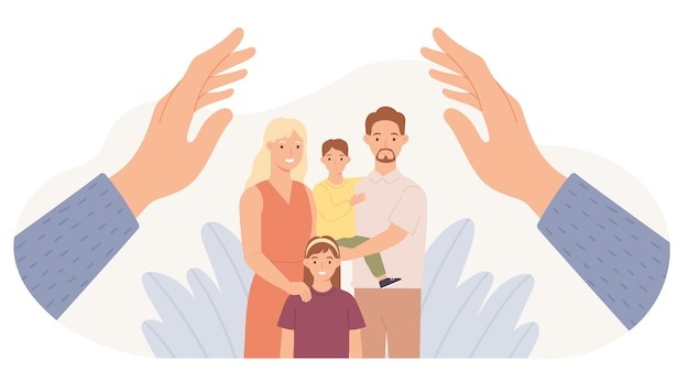 Gezinsbescherming. handen beschermen ouders en kinderen. vader, moeder, dochter en zoon veilig. familie gezondheidszorg en ondersteuning vector concept. kinderen en vrouw met man samen knuffelen