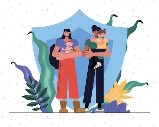 Gezinsbescherming van moeder, vader, baby en zoon voor schildontwerp, verzekering, gezondheidszorg en veiligheidsthema Premium Vector