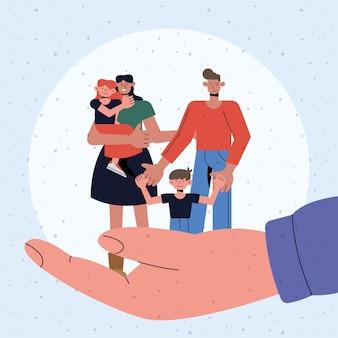 Gezinsbescherming van moeder vader dochter en zoon bij de hand ontwerp, verzekering gezondheidszorg en veiligheidsthema