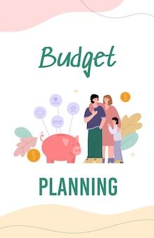 Gezinsbudget planning banner met mensen die geld besparen platte vectorillustratie
