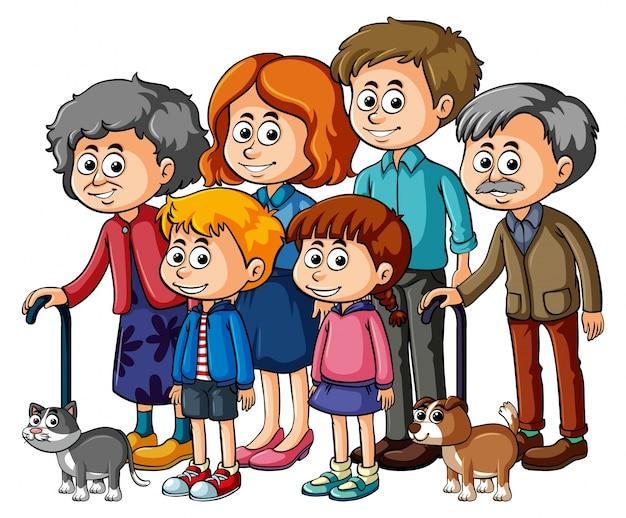 Gezinsleden met ouders en kinderen