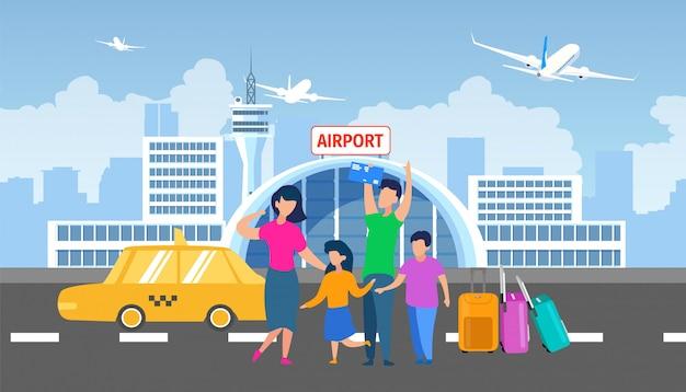 Gezinsoverdracht naar luchthaven met taxi platte vector