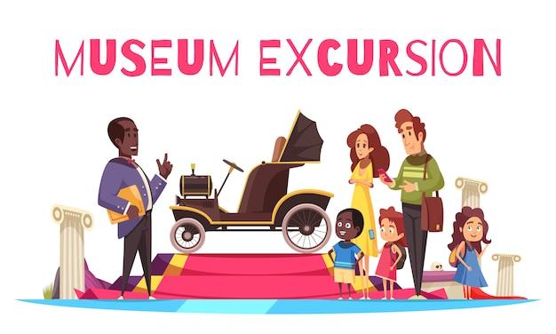Gezinspaar met kinderen en gids in de buurt van oude cabriolet tijdens excursie van het museum voor grondvervoer