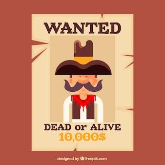 Gezocht poster voor levend of dood crimineel