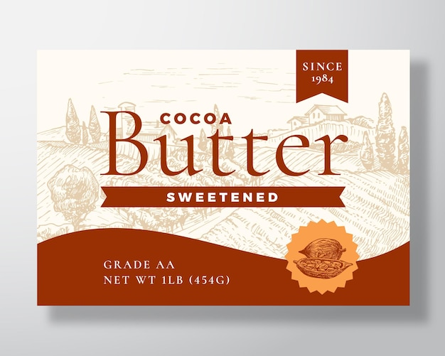 Gezoete cacaoboter zuivel labelsjabloon