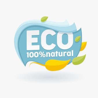 Gezond biologisch voedseletiket met kleurrijke bladeren