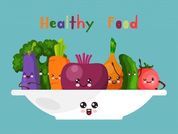 Gezond blij voedsel groenten stripfiguur geïsoleerd op blauwe illustratie. vrolijke wortel komkommer ui tomaten courgette en rode biet.