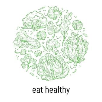 Gezond eten en diëten, voeding en voeding van veganisten en vegetariërs. kool en slabladeren, sla en spinazie in cirkel. schetsoverzichtslabel met inscriptie, vector in vlakke stijl