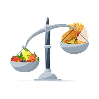 Gezond eten en fast food op de weegschaal. kies dat je eet. vector afbeelding in cartoon stijl