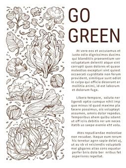 Gezond eten en groen leven, geen afval en geen plastic gebruiken. milieuverbetering en recycling. groenten vol vitamines. kool en salades. monochroom schets overzicht, vector in flat