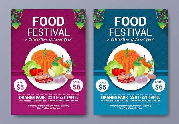Gezond eten festival flyer sjabloon