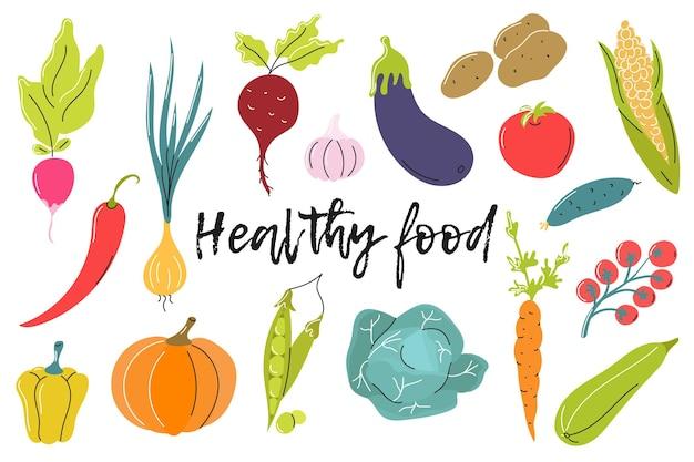 Gezond eten. heldere groenten op een witte achtergrond. platte vectorafbeelding.