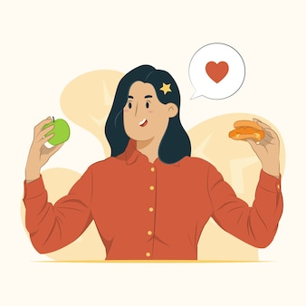 Gezond eten illustratie met vrouw met appel en hamburger