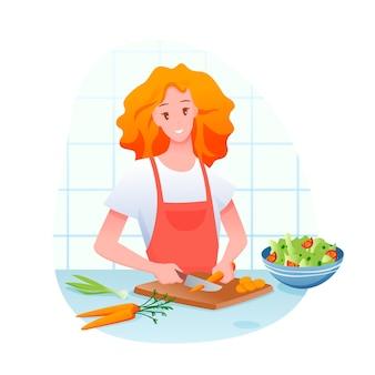 Gezond eten. jong meisje stripfiguur wortel in plakjes snijden, groene groente salade koken