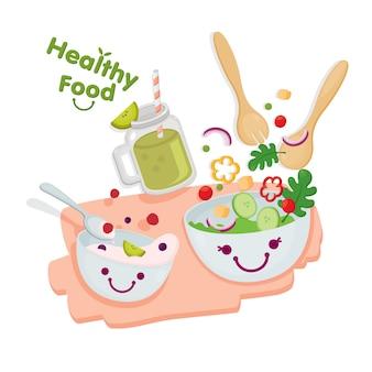 Gezond eten. leuke salade geserveerd met yoghurt en kiwi smoothies.