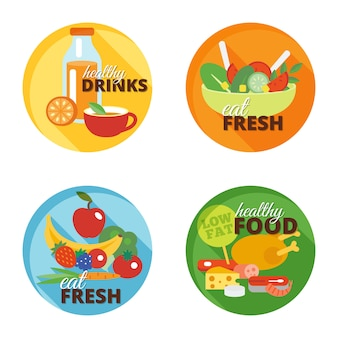 Gezond eten platte pictogram