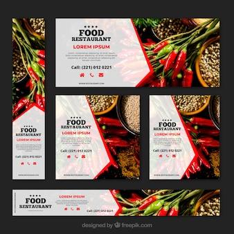 Gezond eten restaurant banner collectie met foto's
