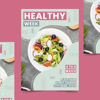 Gezond eten restaurant flyer sjabloon met foto