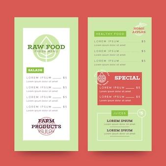Gezond eten restaurant menu