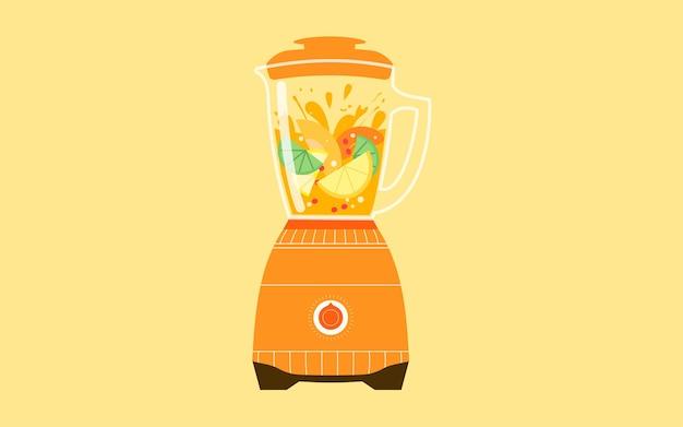 Gezond eten voedsel illustratie juicer knijpen sap dieet fitness poster