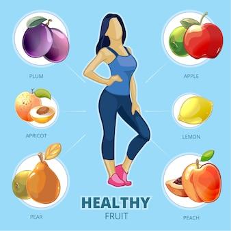 Gezond fruit vector. lifestyle meisje, figuur vrouw, citroen perzik peer abrikoos pruim