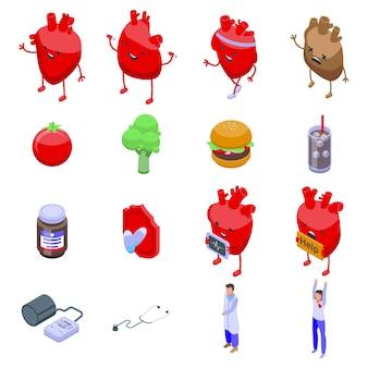 Gezond hart pictogrammen instellen. isometrische reeks gezonde hartpictogrammen voor web dat op witte achtergrond wordt geïsoleerd