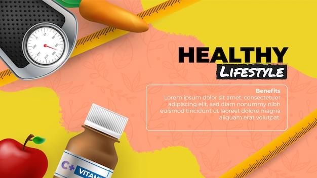 Gezond leven banner met gezondheidselementen