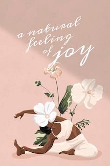 Gezond leven citaat vector sjabloon training vrouwen roze bloemen minimale banner Gratis Vector