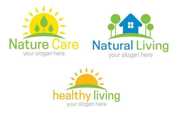 Gezond leven concept logo sjabloon