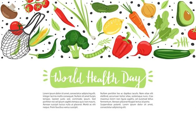 Gezond leven. verschillende groenten voor milieuvriendelijk leven.