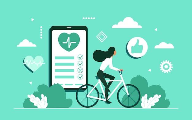 Gezond levensstijlconcept met de fiets van het meisjeskarakter