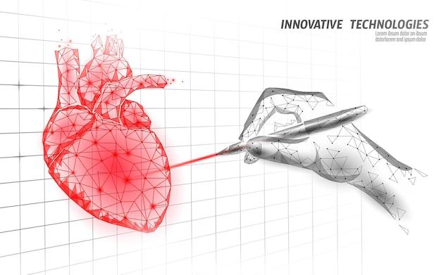 Gezond menselijk hart klopt 3d medicijnmodel laag poly