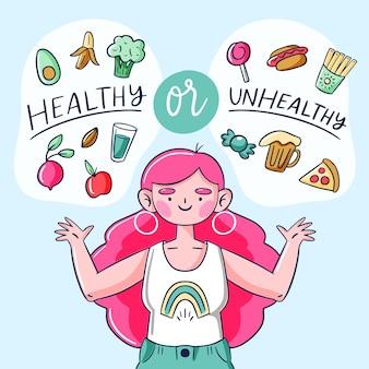 Gezond of ongezond voedsel concept
